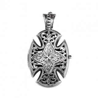 Gerochristo 5220N ~ Sterling Silver Maltese Locket Cross Pendant