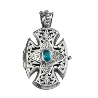 Gerochristo 5221N ~ Sterling Silver Maltese Cross Locket Pendant with Zircon