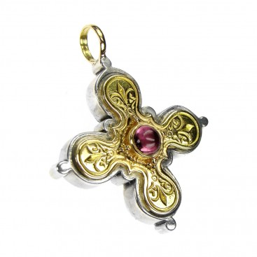 Gerochristo 5221 ~ Solid Gold, Sterling Silver Byzantine-Medieval Cross Pendant