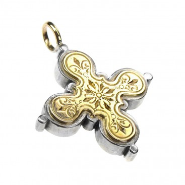 Gerochristo 5223 ~ Solid 18K Gold & Sterling Silver Byzantine Medieval Cross Pendant