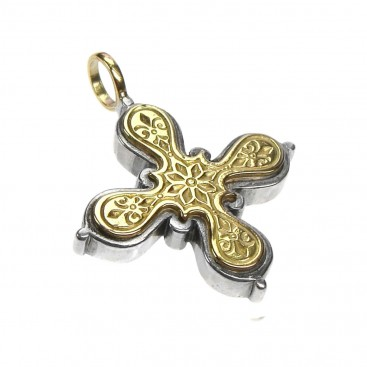 Gerochristo 5226 ~ Solid Gold & Sterling Silver Byzantine Medieval Cross Pendant
