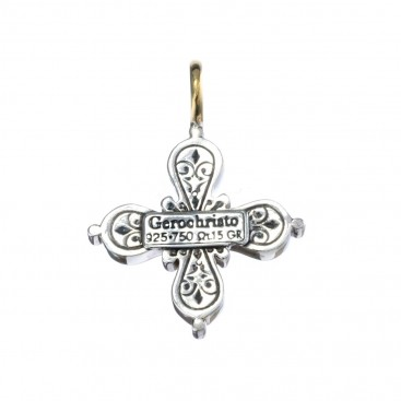 Gerochristo 5231 ~ Solid Gold, Sterling Silver & Pearl Byzantine-Medieval Cross Pendant