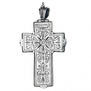 Gerochristo 5237 ~ Solid Gold & Silver Medieval-Byzantine Large Cross Pendant