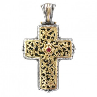 Gerochristo 5246 ~ Solid 18K Gold, Silver & Ruby Byzantine Cross Pendant