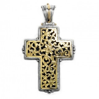 Gerochristo 5247 ~ Solid 18K Gold & Sterling Silver Byzantine Cross Pendant