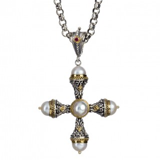 Gerochristo 5251 ~ Solid Gold, Silver, Pearls & Ruby Byzantine Cross Pendant