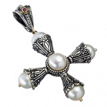 Gerochristo 5267 ~ Solid Gold, Silver, Pearls & Ruby Byzantine Cross Pendant