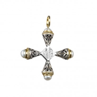 Gerochristo 5272 ~ Gold, Silver & Stone Medieval-Byzantine Cross Pendant