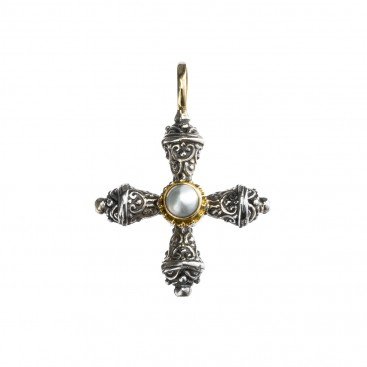 Gerochristo 5274 ~ Gold, Silver & Stone Medieval-Byzantine Cross Pendant