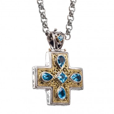 Gerochristo 5276 ~ Solid Gold, Silver & Blue Topaz Byzantine-Medieval Cross Pendant