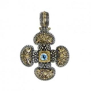 Gerochristo 5279 ~ Solid Gold & Sterling Silver Byzantine Cross Pendant