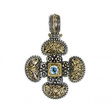 Gerochristo 5279 ~ Solid Gold & Sterling Silver Byzantine Cross Pendant