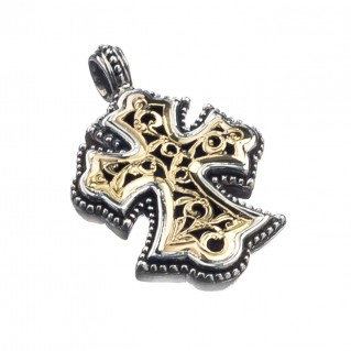Gerochristo 5289 ~ Solid Gold & Silver Byzantine Cross Pendant