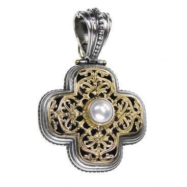 Gerochristo 5293N ~ Solid Gold & Sterling Silver Medieval-Byzantine Cross Pendant