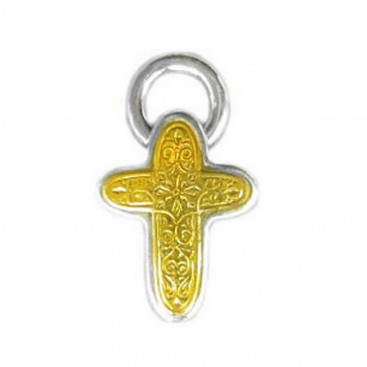 Gerochristo 5296 ~ Solid Gold & Sterling Silver Byzantine Cross Pendant