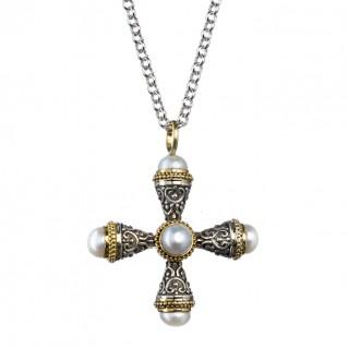 Gerochristo 5297 ~ Solid Gold, Silver & Pearls Byzantine Cross Pendant