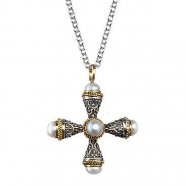 Gerochristo 5297 ~ Solid Gold, Silver & Pearls Byzantine Cross Pendant