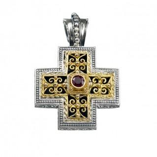 Gerochristo 5299 ~ Solid Gold & Sterling Silver Ornate Medieval-Byzantine Cross Pendant