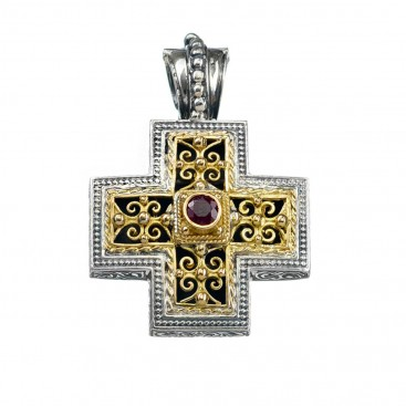 Gerochristo 5299 ~ Solid Gold & Sterling Silver Ornate Medieval-Byzantine Cross Pendant