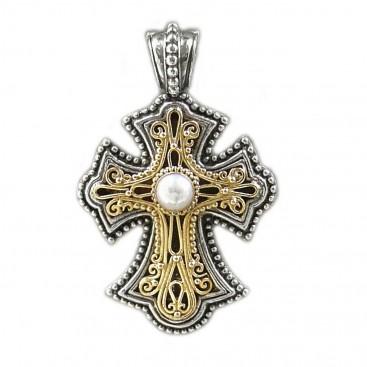 Gerochristo 5303 ~ Solid Gold, Silver & Pearl Byzantine Cross Pendant