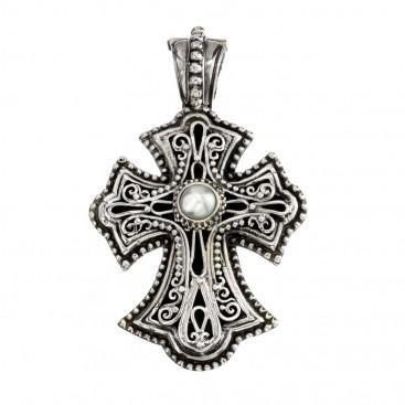 Gerochristo 5307N ~ Sterling Silver & Pearl Byzantine Cross Pendant