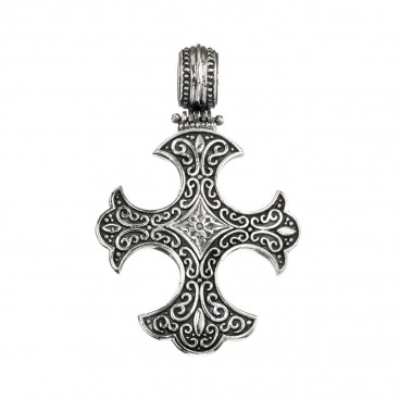 Gerochristo 5329N ~ Sterling Silver Medieval-Gothic Cross Pendant