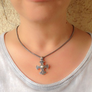 Gerochristo 5330N ~ Sterling Silver Medieval-Gothic Cross Pendant