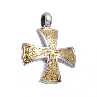Gerochristo 5337 ~ Solid 18K Gold & Sterling Silver Maltese Cross Pendant