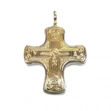 Gerochristo 5357 ~ Solid 18K Gold & Sterling Silver Byzantine Cross Pendant