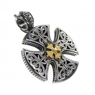 Gerochristo 5355 ~ Solid 18K Gold & Sterling Silver Maltese Cross Pendant