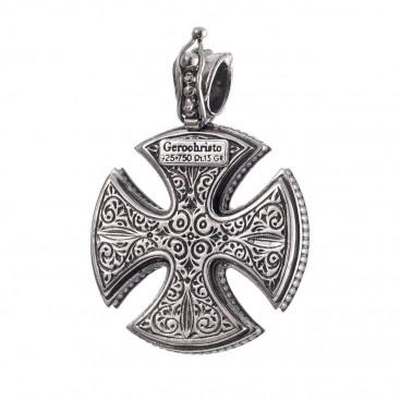 Gerochristo 5355 ~ Solid 18K Gold & Sterling Silver Maltese Cross Pendant