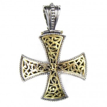 Gerochristo 5359 ~ Solid 18K Gold & Silver Filigree Maltese Cross Pendant