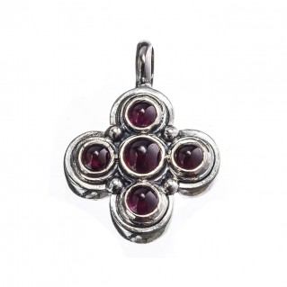 Gerochristo 5362 ~ Sterling Silver & Garnet Byzantine-Medieval Cross Pendant