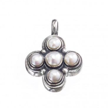 Gerochristo 5363 ~ Sterling Silver & Pearls Byzantine-Medieval Cross Pendant