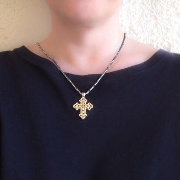 Gerochristo 5373~ Solid Gold & Sterling Silver Byzantine Cross Pendant