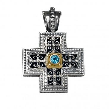 Gerochristo 5408 ~ Gold & Silver Ornate Medieval-Byzantine Cross Pendant