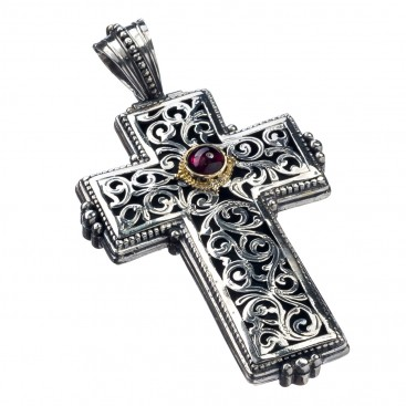 Gerochristo 5409 ~ Solid Gold & Sterling Silver Tourmaline Medieval-Byzantine Cross Pendant