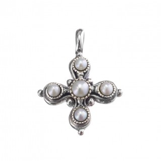 Gerochristo 5411 ~ Sterling Silver & Pearls Byzantine-Medieval Cross Pendant