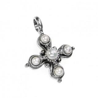 Gerochristo 5411 ~ Sterling Silver & Pearls Byzantine-Medieval Cross Pendant