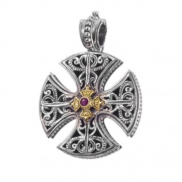 Gerochristo 5416 ~ Solid 18K Gold & Sterling Silver Maltese Cross Pendant
