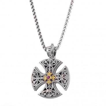 Gerochristo 5416 ~ Solid 18K Gold & Sterling Silver Maltese Cross Pendant