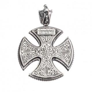 Gerochristo 5417 ~ Sterling Silver Maltese Cross Pendant