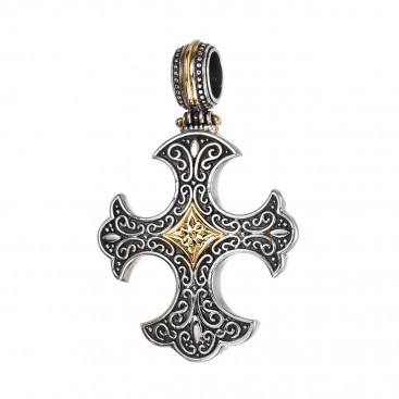 Gerochristo 5422N ~ Solid Gold & Silver Medieval-Gothic Cross Pendant