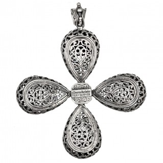 Gerochristo 5503N ~ Sterling Silver & Pearl Byzantine-Medieval Large Cross Pendant