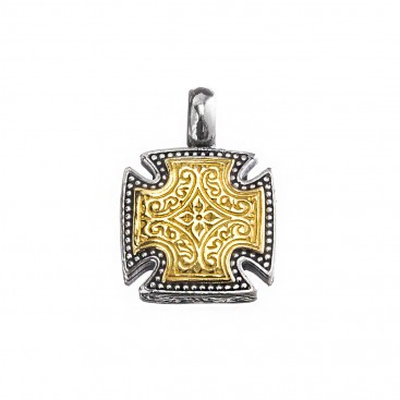 Gerochristo 5508N ~ Solid Gold & Silver Maltese Cross Pendant
