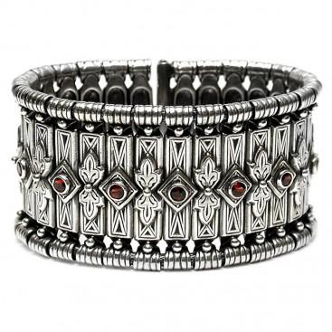 Gerochristo 6005 silver garnet byzantine wide bangle bracelet