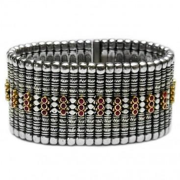 Gerochristo 6017 ~ Solid 18K Gold, Sterling Silver & Rubies Medieval Bracelet