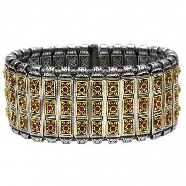 Gerochristo 6020 ~ Solid 18K Gold, Silver & Rubies Medieval Bangle Bracelet
