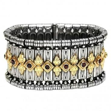 Gerochristo 6021 ~ Solid Gold & Silver Medieval-Byzantine Large Bangle Bracelet