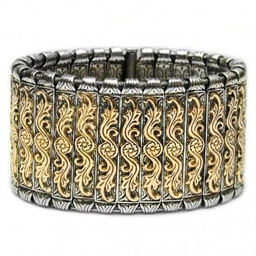Gerochristo 6023 ~ Solid 18K Gold & Sterling Silver Medieval - Byzantine Bracelet